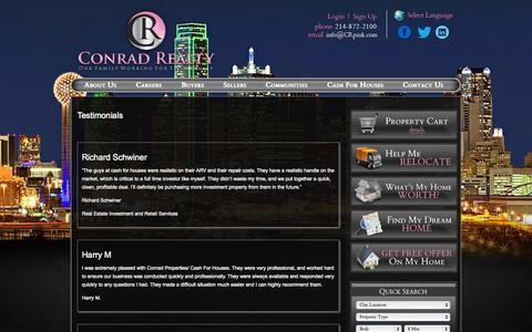 Screenshot of Testimonials Page crpink.com - Frisco Real Estate, Plano Homes, Prosper Investment Property - Conrad Realty - captured Oct. 3, 2014