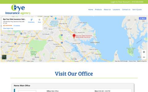 Screenshot of Locations Page byeyourside.com - Locations - Bye Insurance Agency - captured Oct. 7, 2018