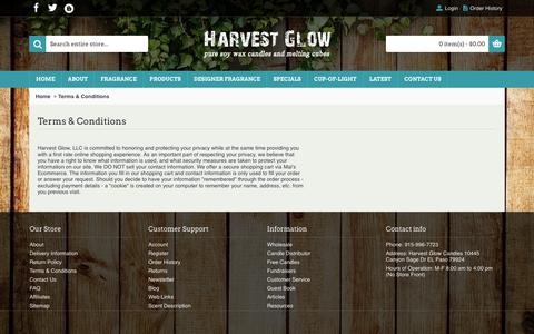 Screenshot of Terms Page harvestglowcandles.com - Terms & Conditions - captured July 19, 2017