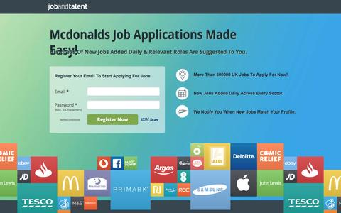 Screenshot of Landing Page jobandtalent.com - See Online Mcdonalds Job Applications Opportunities - captured Dec. 28, 2016