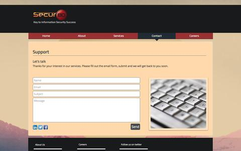 Screenshot of Contact Page Support Page secur80.com - Information-Secur80-Risk | Contact - captured Nov. 28, 2016