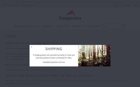 Screenshot of FAQ Page prospectors.com.au - FAQ's - Prospectors Supplies - captured Sept. 30, 2018