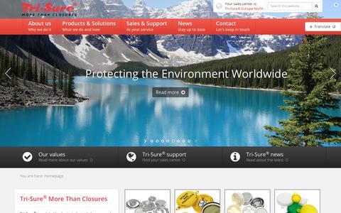 Screenshot of Home Page tri-sure.com - Tri-Sure® More than Closures - captured Oct. 20, 2018