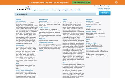 Screenshot of Maps & Directions Page avito.ma - Plan des catégories — Annonces gratuites au Maroc AVITO.ma - captured Sept. 19, 2014