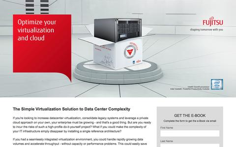 Screenshot of Landing Page fujitsu.com - The Simple Virtualization Solution to Data Center Complexity-Vshape - captured Feb. 28, 2017
