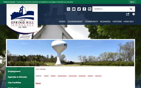 Screenshot of Site Map Page springhilltn.org - Spring Hill, TN - Official Website - captured Sept. 28, 2018