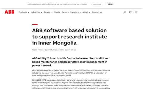 Screenshot of Support Page abb.com - ABB software based solution to support research institute in Inner Mongolia - captured Nov. 9, 2019