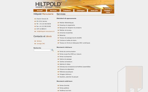 Screenshot of Services Page hiltpold-menuiserie.ch - Hiltpold Menuiserie - services - captured Oct. 2, 2014