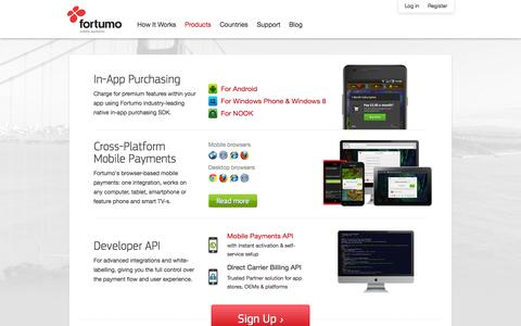 Screenshot of Products Page fortumo.com - Mobile Payments & In-App Purchasing   Fortumo.com - captured Sept. 12, 2014