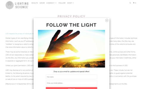 Screenshot of Privacy Page lsgc.com - Lighting Science - Privacy Policy - Modern LED Lights Bulbs + Lamps - captured Feb. 17, 2018