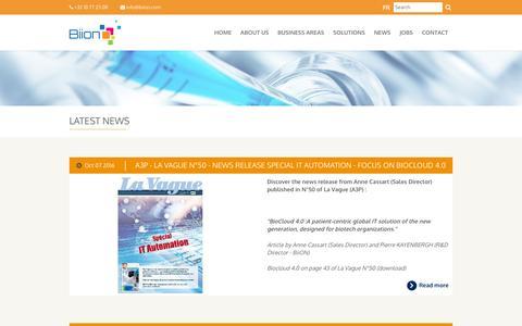 Screenshot of Press Page biion.com - Biion - Latest news - captured Jan. 8, 2017
