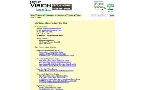 Screenshot of Site Map Page nightvisionexperts.com - Night Vision Site Map - captured Oct. 26, 2014
