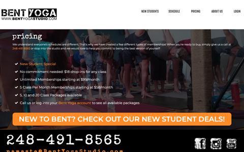 Screenshot of Pricing Page bent.yoga - Bent Yoga Pricing - Bent Yoga 2018 - captured Dec. 18, 2018