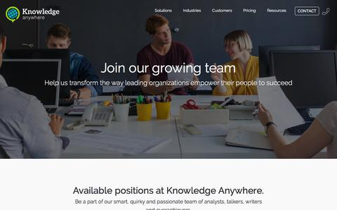 Screenshot of Jobs Page knowledgeanywhere.com - Knowledge Anywhere :: Careers at Knowledge Anywhere :: Join our growing team. - captured Sept. 20, 2018