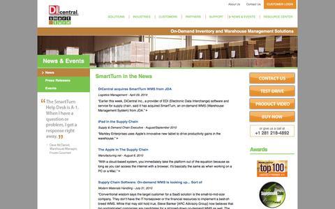 Screenshot of Press Page smartturn.com - On Demand Inventory and Warehouse Management Solutions - SmartTurn News - captured July 4, 2016