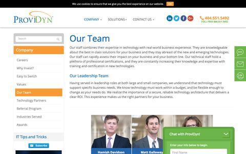 Screenshot of Team Page providyn.com - Our Team - Atlanta, Sandy Springs, Alpharetta | ProviDyn® - captured Feb. 16, 2019
