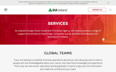 Screenshot of Services Page idaireland.com - Range of support and services - IDA Ireland - captured Oct. 28, 2014