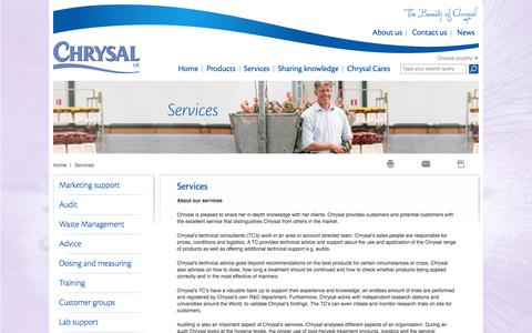 Screenshot of Services Page chrysal.co.uk - Services - captured Oct. 3, 2014