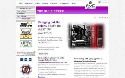 Screenshot of Press Page fmi-marketing.com - News - captured Sept. 30, 2014
