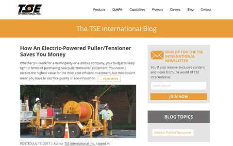 Screenshot of Blog tse-international.com - TSE International Blog - captured Nov. 2, 2017