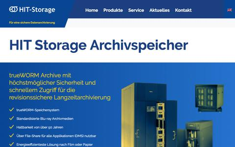 Screenshot of Home Page hit-storage.eu - Für eine sichere Datenarchivierung | HIT Storage - captured Nov. 27, 2018