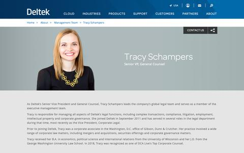Screenshot of Team Page deltek.com - Tracy Schampers | Management Team | Deltek - captured April 19, 2019