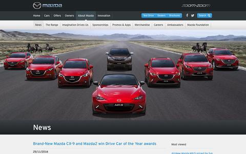 Screenshot of Press Page mazda.com.au - Mazda Australia Latest News - captured Nov. 28, 2016