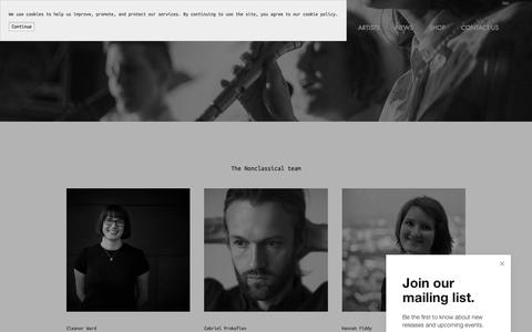 Screenshot of Team Page nonclassical.co.uk - The Team — Nonclassical - captured March 6, 2018