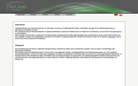 Screenshot of Home Page intelligent-reuse.de - Intelligent ReUse - Index - captured Sept. 30, 2014