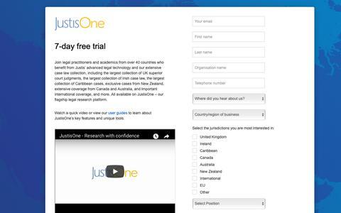 Screenshot of Trial Page justis.com - JustisOne - Registration - captured Oct. 14, 2018