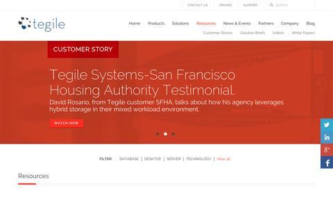 Screenshot of Case Studies Page tegile.com - Resources | Tegile - captured Oct. 10, 2014