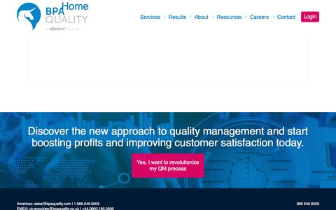 Screenshot of Home Page bpaquality.com - Call Center Quality Assurance by Experts | BPA Quality - captured July 9, 2018