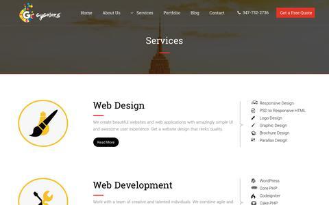 Screenshot of Services Page cgcolors.com - Web Design, Development, Ecommerce, Mobile App, Marketing Services - captured July 17, 2019