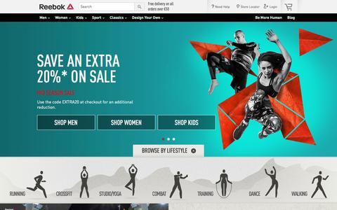 Screenshot of Home Page reebok.ie - Official Reebok Online Shop | Reebok IE - captured Oct. 8, 2017