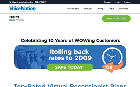 Screenshot of Pricing Page voicenation.com - Phone Answering Service | Virtual Reception Plans & Pricing - captured Aug. 2, 2019