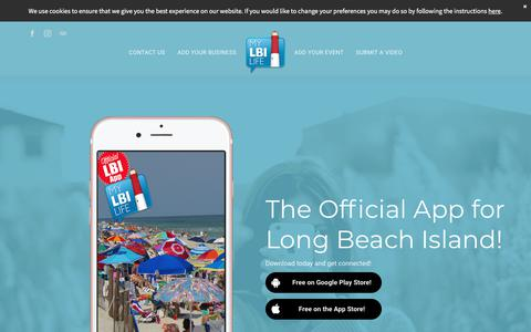 Screenshot of Home Page mylbilife.com - Long Beach Island's Official Mobile App  | Welcome Back - captured Sept. 20, 2018