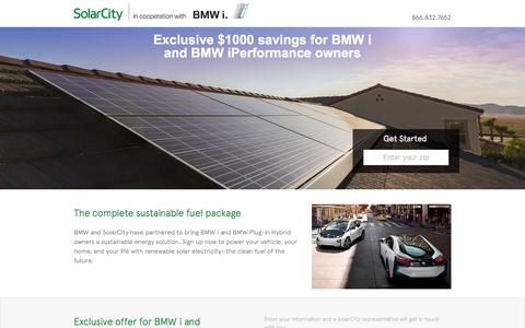 Screenshot of Landing Page solarcity.com - SolarCity | BMW i - captured Aug. 17, 2016