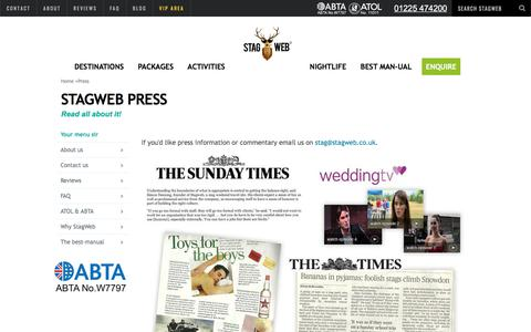 Screenshot of Press Page stagweb.co.uk - StagWeb Press information | StagWeb - captured Oct. 24, 2017