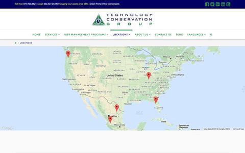 Screenshot of Locations Page tcgrecycling.com - Locations | Technology Conservation Group Inc. - captured Dec. 3, 2016