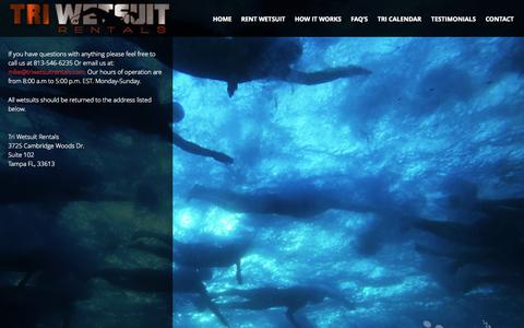 Screenshot of Contact Page triwetsuitrentals.com - Contact Us   - captured Oct. 9, 2014