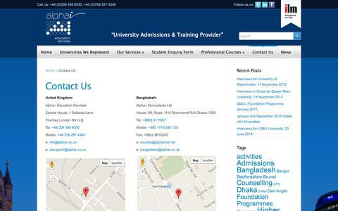 Screenshot of Contact Page alphai.co.uk - Contact Us | Alpha-i Education Services - captured Oct. 4, 2014