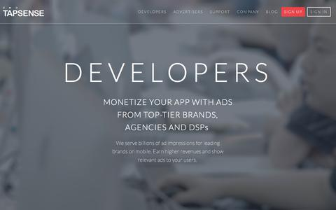 Screenshot of Developers Page tapsense.com - - TapSense - captured Jan. 10, 2016