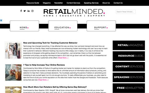 Screenshot of Home Page retailminded.com - Retail Minded - is your source for news, support and education for boutique businesses. - captured March 31, 2018