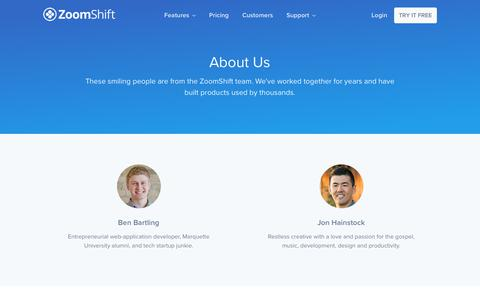 Screenshot of About Page zoomshift.com - About Us - ZoomShift - captured Jan. 17, 2018