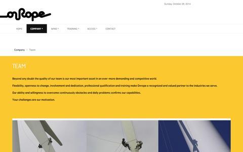 Screenshot of Team Page onrope.pt - Onrope - captured Oct. 26, 2014