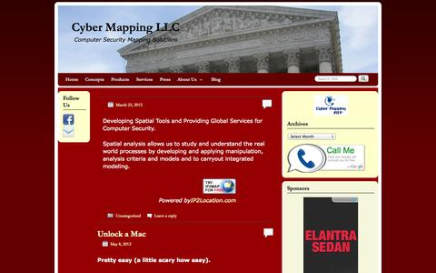Screenshot of Home Page cybermapping.net - Cyber Mapping LLC | Computer Security Mapping Solutions - captured Oct. 3, 2014