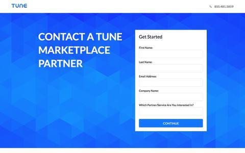 Screenshot of Landing Page tune.com - TUNE - captured Aug. 28, 2017