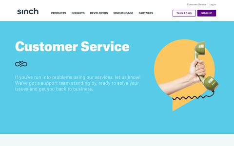 Screenshot of Support Page sinch.com - Customer Service | Let's get your SMS, voice & video services working - captured Aug. 12, 2019