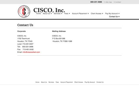 Screenshot of Contact Page ciscocollect.com - Contact Us - captured Sept. 25, 2018