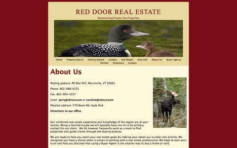 Screenshot of About Page reddoorrealestatevt.com - About Us | Red Door Real Estate - captured Oct. 1, 2014